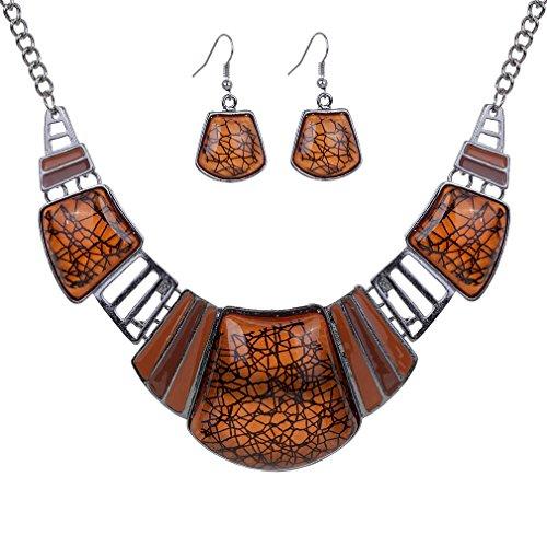 Vintage ethnique Collier tibetain Sliver Bib Turquoise Brun Collier Boucles d'oreilles Ensemble de bijoux femmes