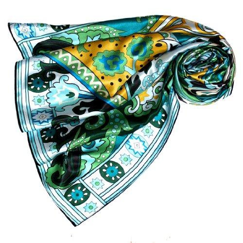 LORENZO CANA Foulard pour la femme - écharpe à la mode de 100% soie pour le printemps et lŽété avec les mesures de 110 x 110 cm - soyeux, élégant et très coloré - une sensation de luxe