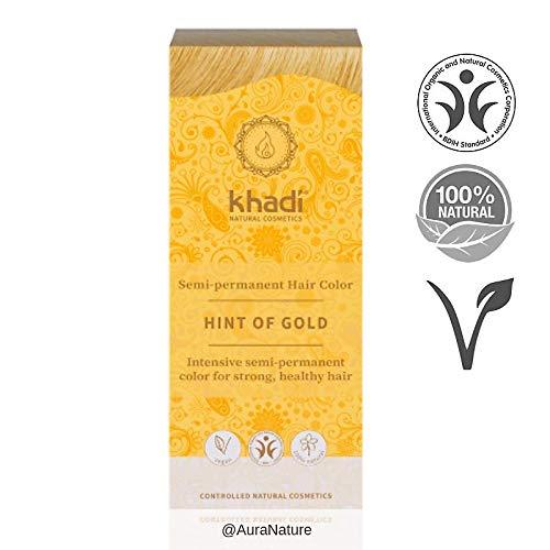 Coloration Blond Doré Khadi - Coloration Naturelle aux Plantes - Peut être utilisé sur cheveux gris - Enrichi au henné, à l'amla et à l'indigo - Ne décolore pas les cheveux - Sans colorants synthétiques - 150g de poudre de coloration - Par Khadi