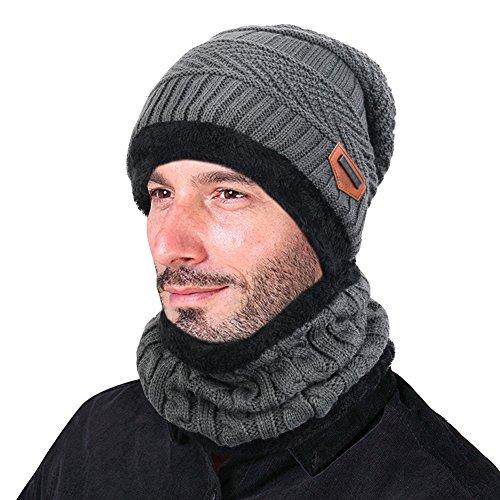 Goodbuy Chauffant Bonnet Tricot avec Écharpe de Doublure Polaire, Hiver Chapeau Beanie pour Homme, Gris, Taille unique