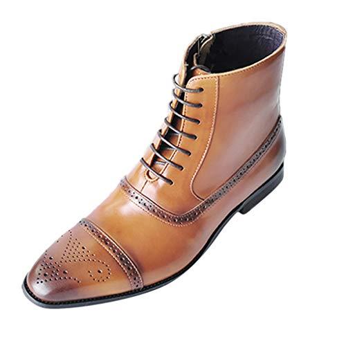 Boots Homme Cuir Mode Pas Cher Grand Taille à Talon Plates Bottes A Lacets Automne Hiver Fermeture à GlissièRe LatéRale Vintage Hautes Chaussure De Ville