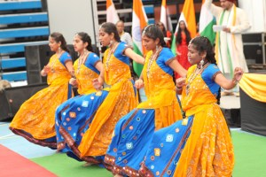 Gujarati dance troupes entertain the crowds with cultural dances during Indian Prime Minister Narendra Modis visit to Seychelles