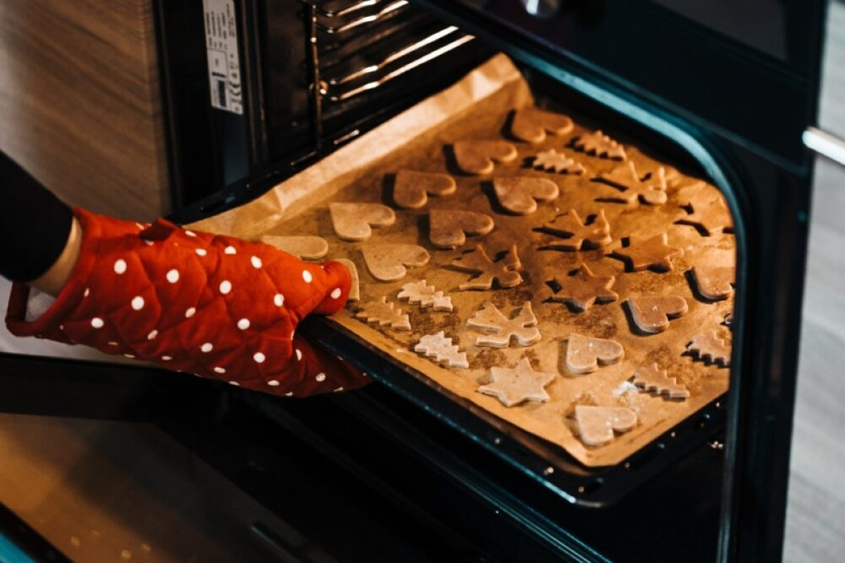 person baking gingerbread