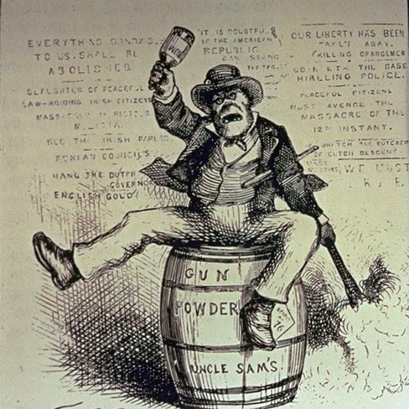 Anti-Irish political cartoon titled The Usual Irish Way of Doing Things by Thomas Nast (1840–1902), published in Harper's Weekly on 2 September 1871