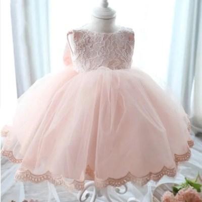 Vestido bautizo rosado