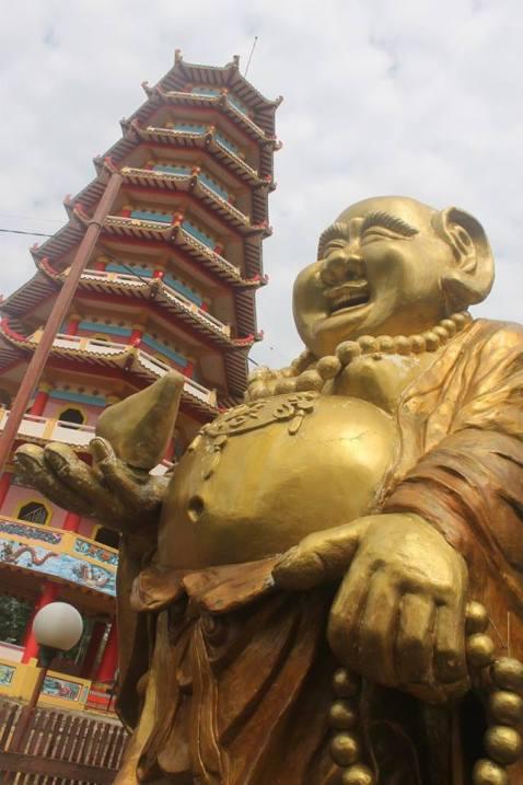 pagoda & the smiling buddha
