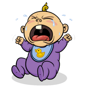 A cartoon crying baby making funny cries