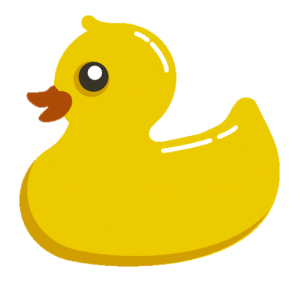 A cartoon yellow duck making funny sounds quacking