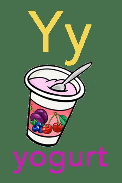 Baby ABC Flashcard - Y for yogurt