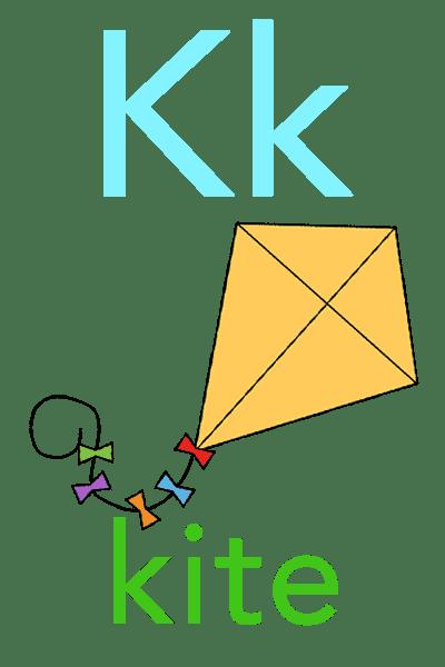 Baby ABC Flashcard - K for kite
