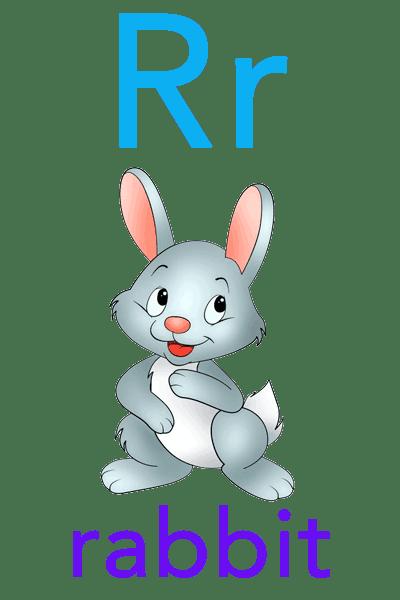 Baby ABC Flashcard - R for rabbit