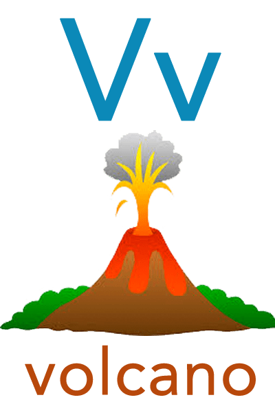Baby ABC Flashcard - V for volcano