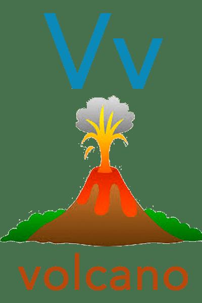 Baby ABC Flashcard - V for volcano
