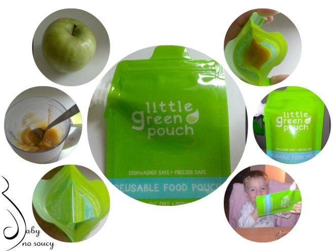 test gourdes réutilisables little green pouch par baby no soucy
