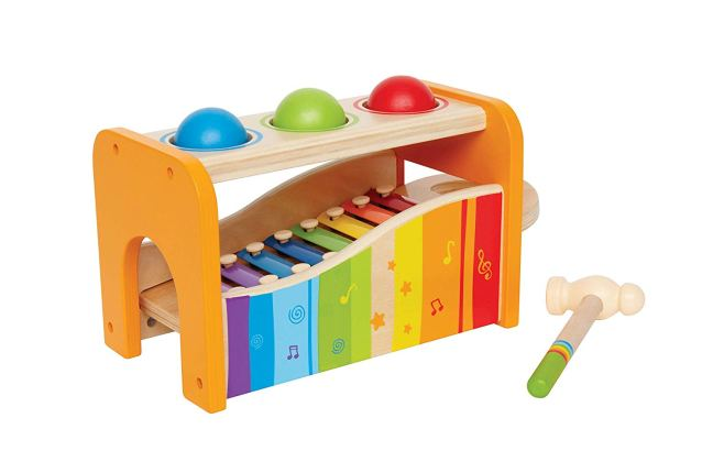 Christmas Gift Guide for 1 - 2 year olds. Hape early melodies pound and tap bench