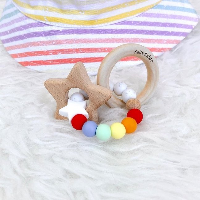 Rainbow Star Rattle Teether from Once Upon a Future