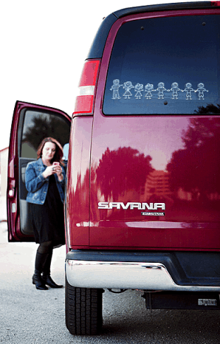 Reality Chic Jennifer Hatcher and her transportation for a family of eight