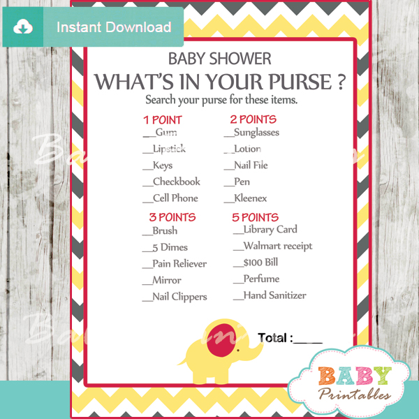 printable baby shower games what's in your purse
