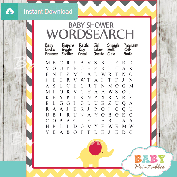 Printable Baby Shower Word Search Game