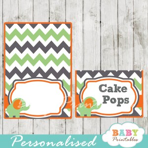 printable food labels for baby shower elephant