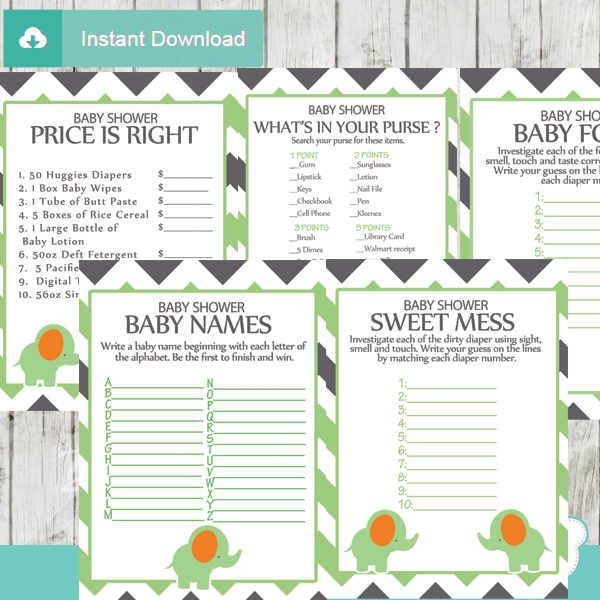 printable green elephant baby shower games package