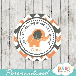 personalized peach elephant baby shower gift tags