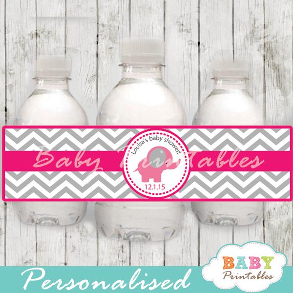 custom elephant theme baby shower bottle wrappers printable