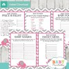 printable hot pink elephant baby shower games package