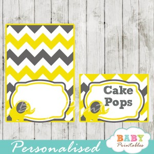 custom printable food labels for baby shower elephant yellow gray