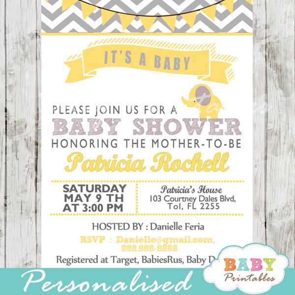 Yellow Elephant Baby Shower Invitation Card
