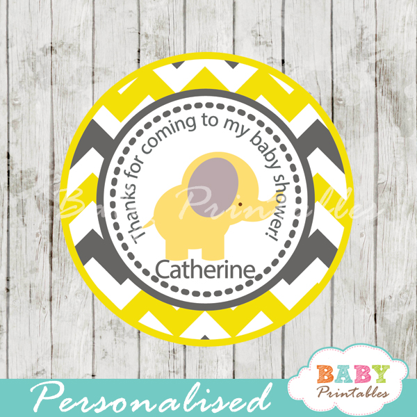 custom yellow gray elephant baby shower tags