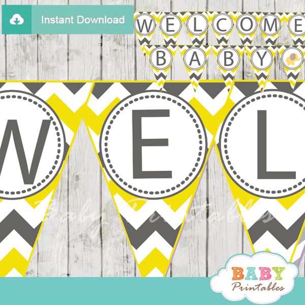 welcome baby printable elephant shower banner