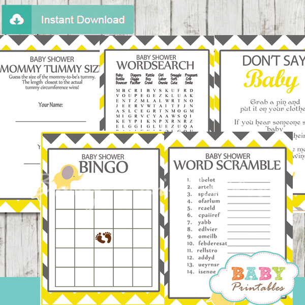 printable elephant baby shower fun games ideas gender neutral