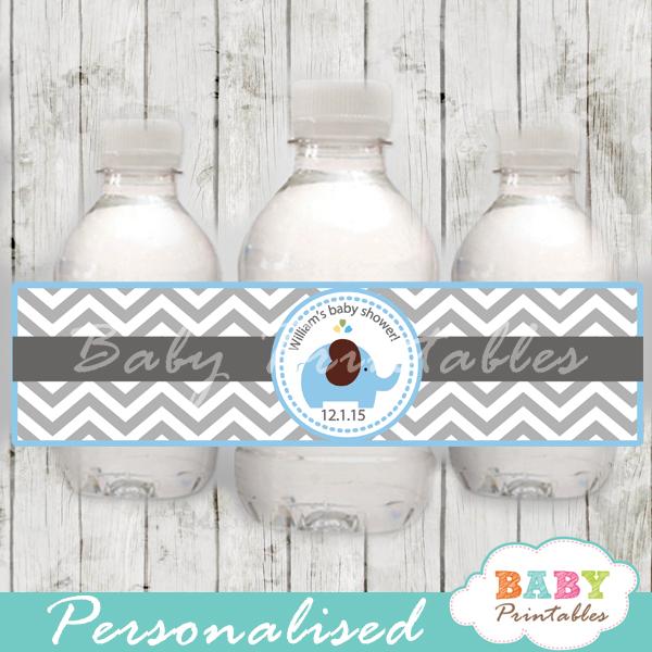 Blue Elephant Baby Shower Bottle Labels U2013 D105