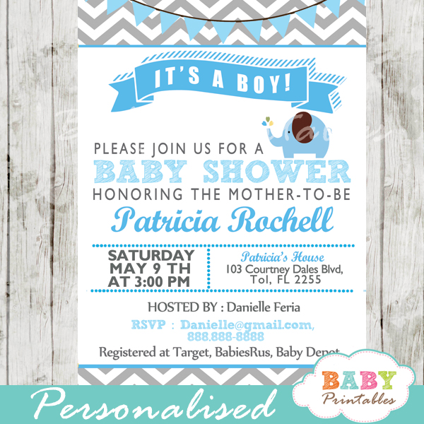 grey blue printable elephant baby shower invitations ideas