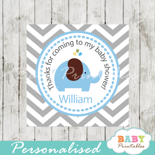 printable custom blue elephant baby shower gift tags
