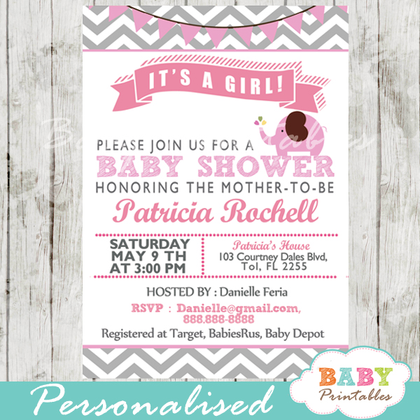 personalized pink printable elephant baby shower invite