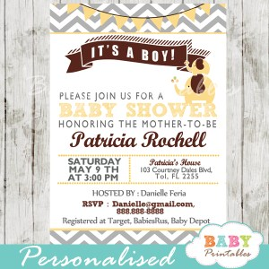 personalized yellow brown printable elephant baby shower invite printable