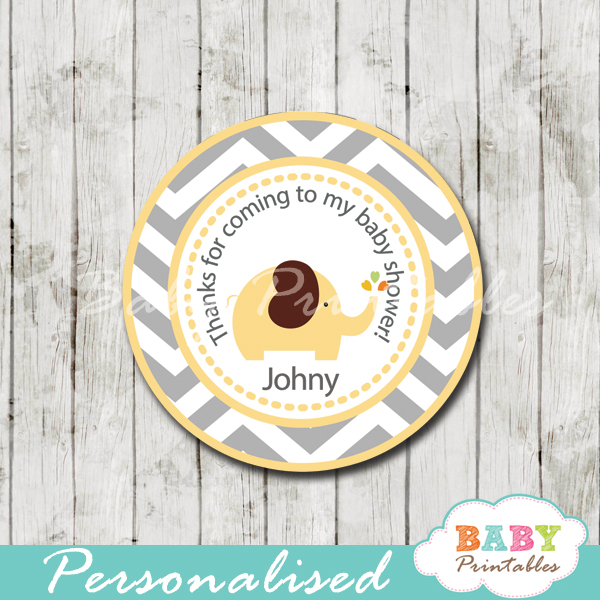 custom yellow gray elephant baby shower gift tags