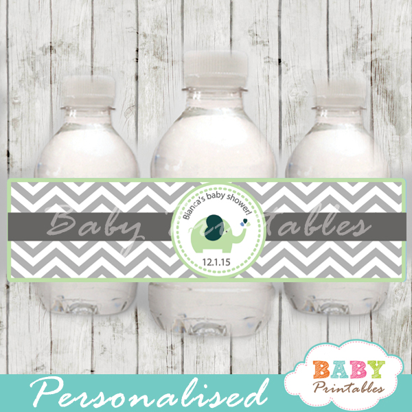personalized lime green elephant baby shower bottle wrappers