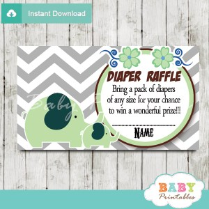 printable lime green elephant chevron diaper raffle tickets pdf