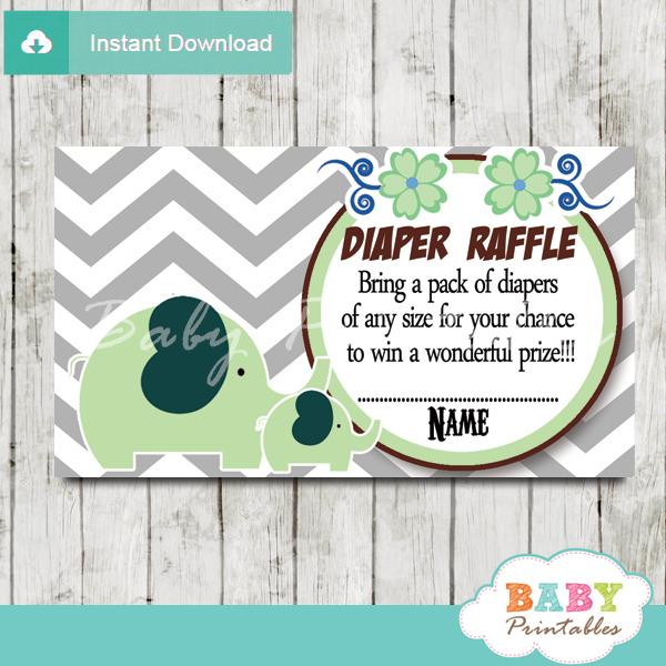 printable lime green elephant chevron diaper raffle tickets pdf