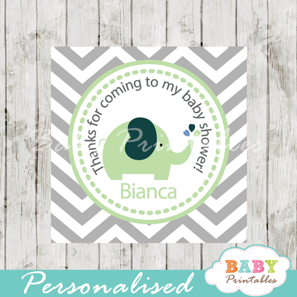 printable custom lime green elephant baby shower gift labels