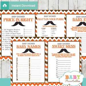 printable orange brown mustache baby shower games package