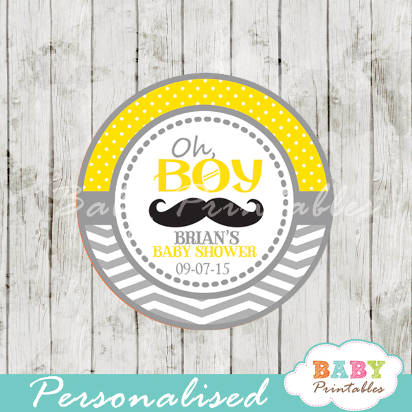 yellow printable personalized Mustache Baby Shower Favor stickers