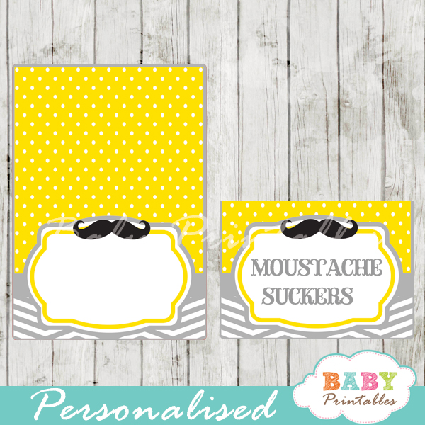 yellow printable mustache food labels
