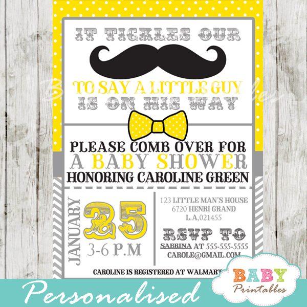 Yellow Grey Mustache Baby Shower