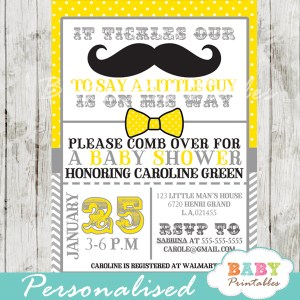 yellow little man mustache bash baby shower invitations