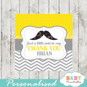 yellow printable custom mustache baby shower gift labels