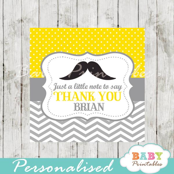 yellow printable custom mustache baby shower gift labels